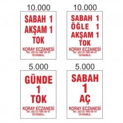 30.000 Adet 4 Farklı Tasarımda Beyaz Eczane Etiketi